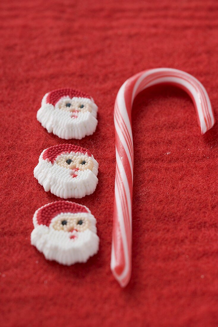 Christmas sweets on red felt