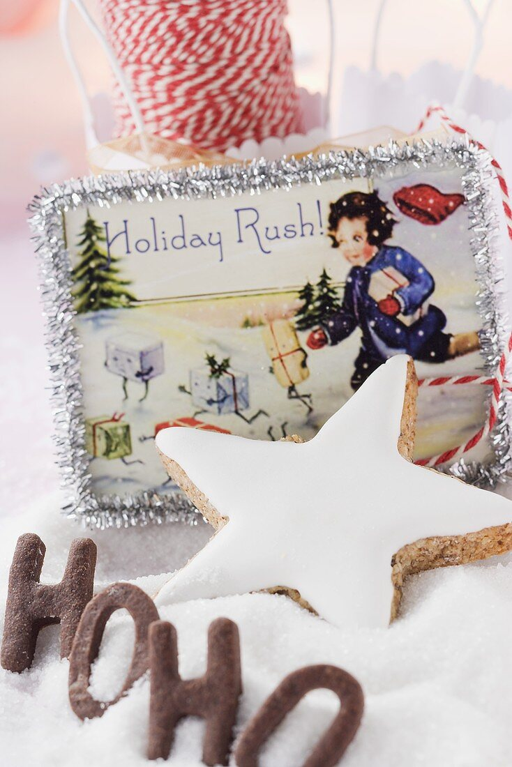 Cinnamon star, letter biscuits and Christmas decorations