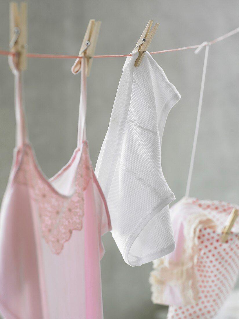 Underwear hanging on washing line