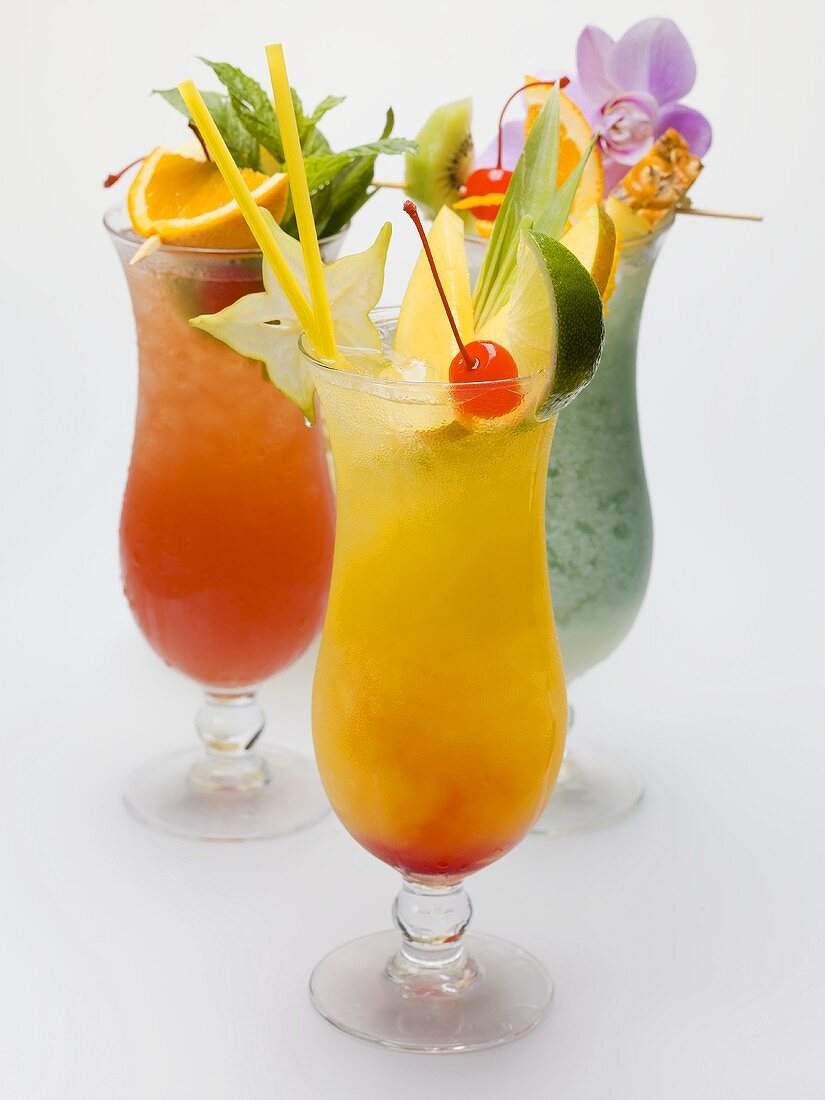 Three fruity long drinks
