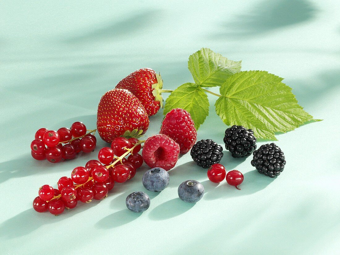 Assorted berries with raspberry leaf