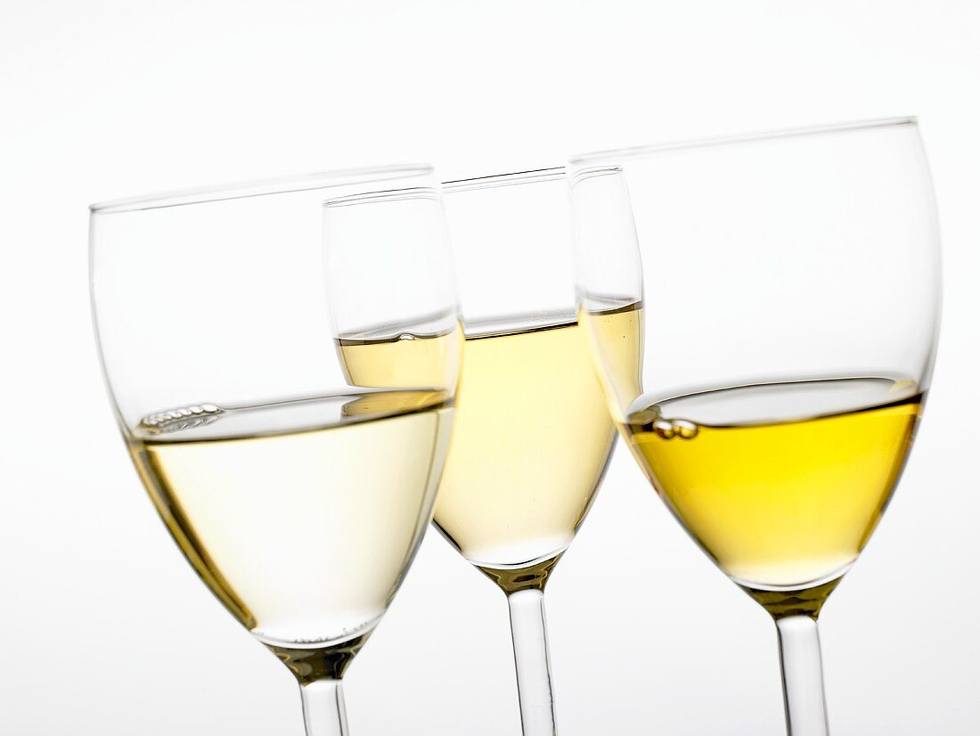 Three different white wines in glasses