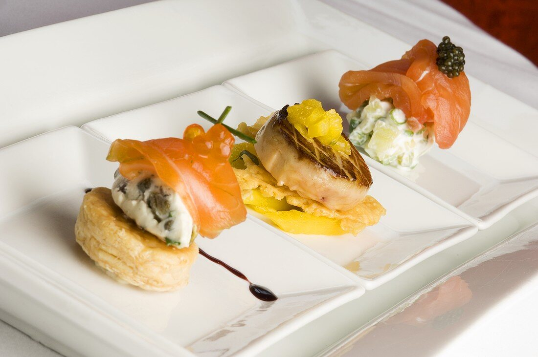 Three Asian Styled Appetizers on White Dish
