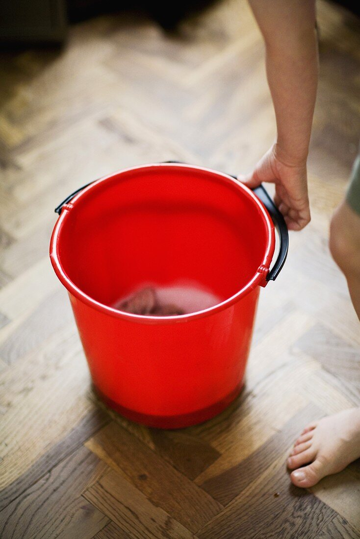 Boy with cleaning bucket