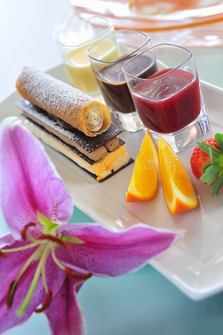 Chocolate and mousse confection with various fruit sauces
