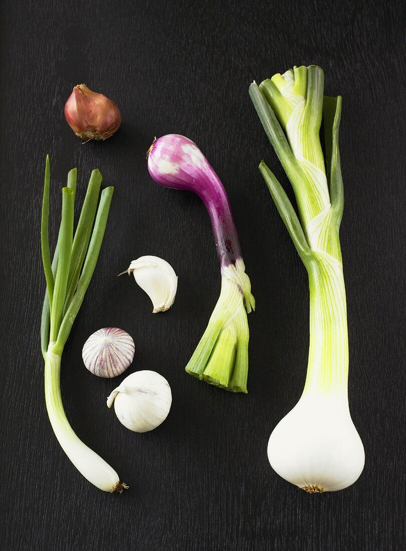 Garlic and various types of onions