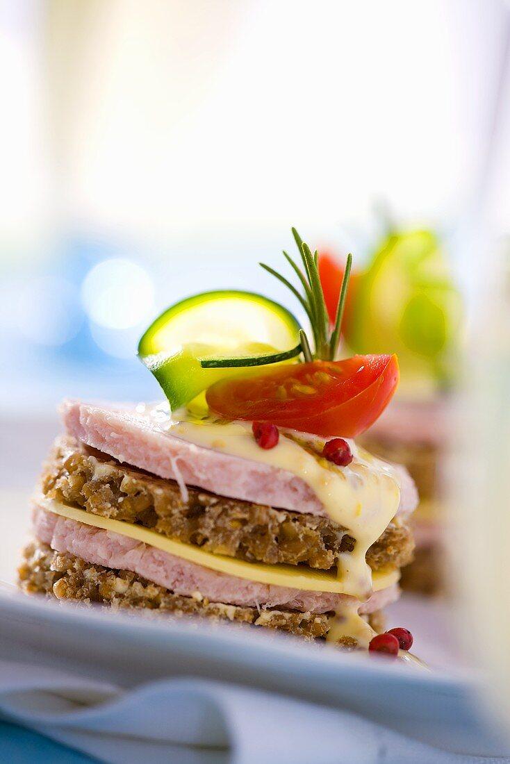Double-decker luncheon meat & cheese sandwich in wholemeal bread