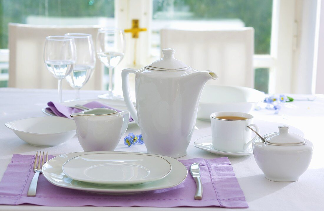 Place-setting with white tea things