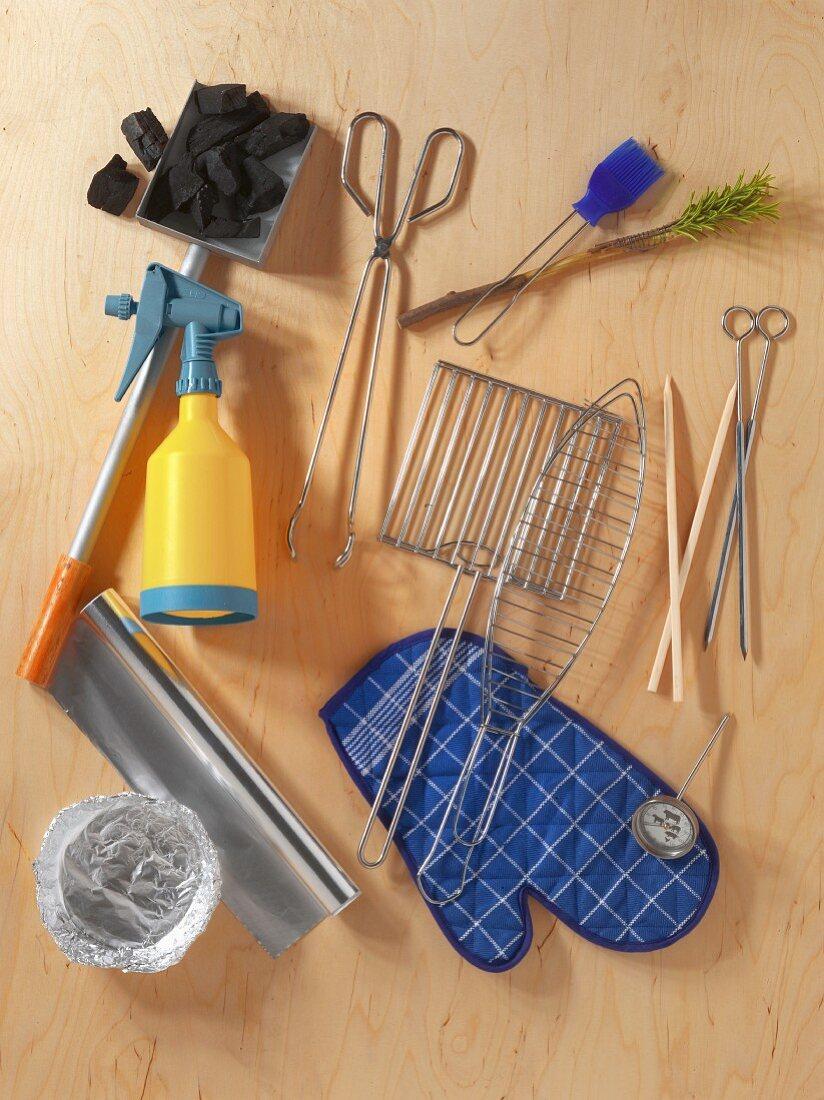 Various barbecuing utensils