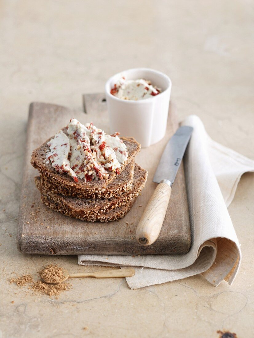 Almond spread with cumin on a slice of wholemeal bread