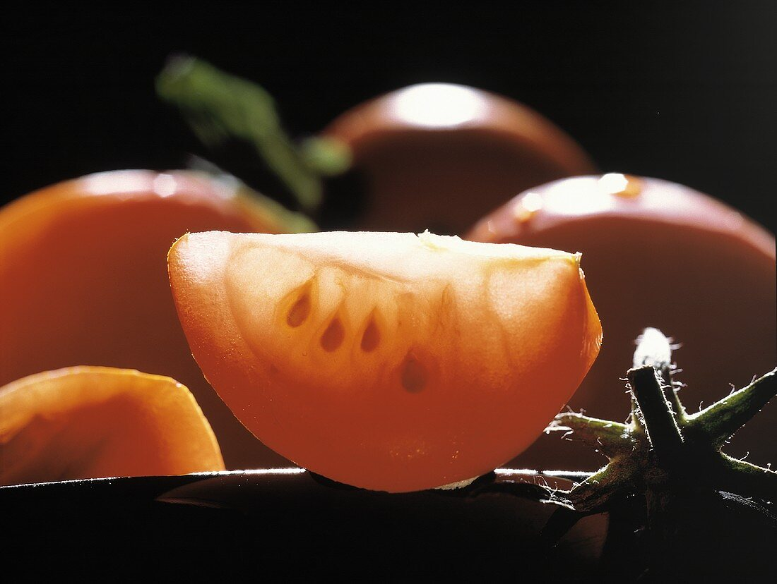 Close Up of a Tomato Wedge