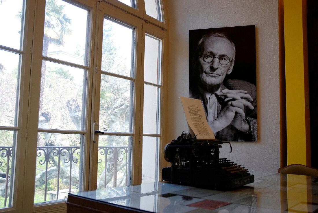 Old typewriter in front of window in Hermann Hesse Museum, Ticino, Switzerland