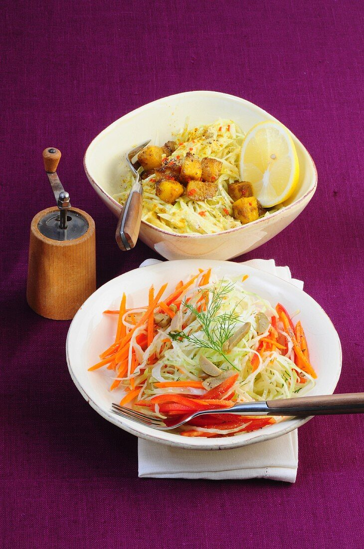 Pointed cabbage salad with curried mango, and cabbage salad with carrots and olives
