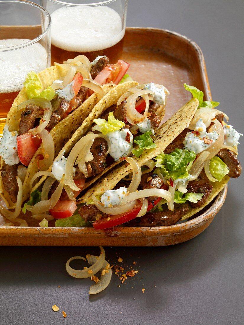 Taco shells with lamb gyros