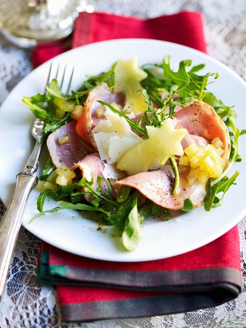 Duck breast carpaccio with rocket and apple vinaigrette