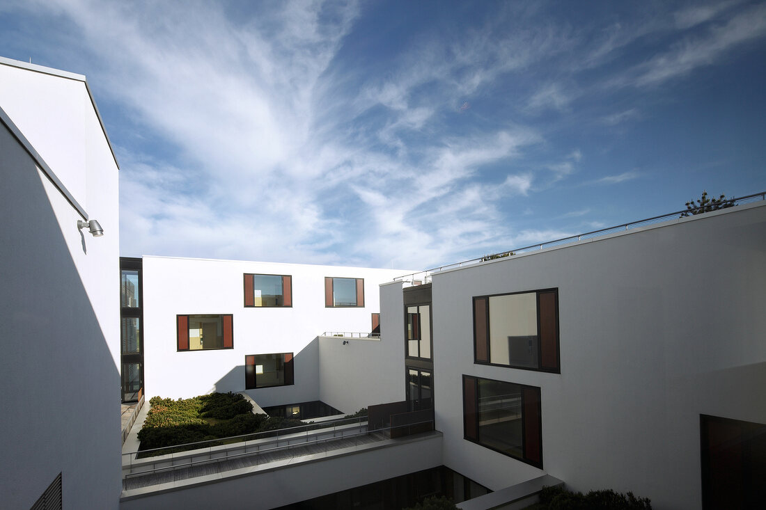 Courtyard of Hotel Budersand in Sylt, Germany