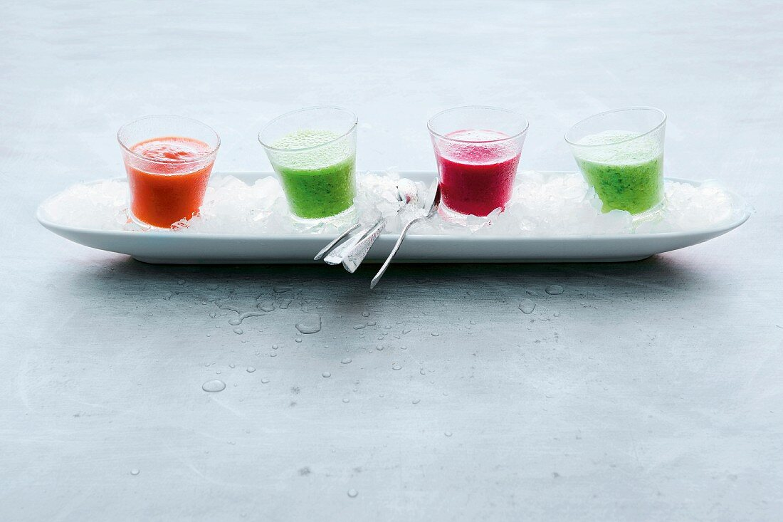 For cold soup shots on crushed ice