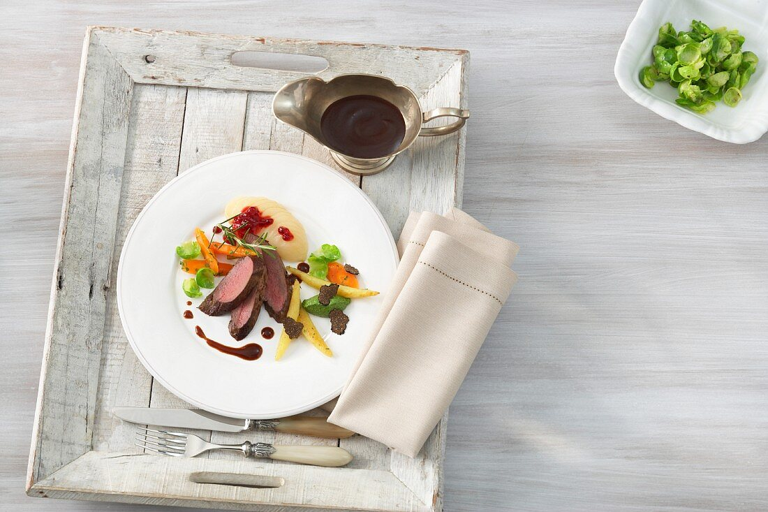 Venison fillet on with potato orzo pasta and vegetables (Baden-Baden, Germany)