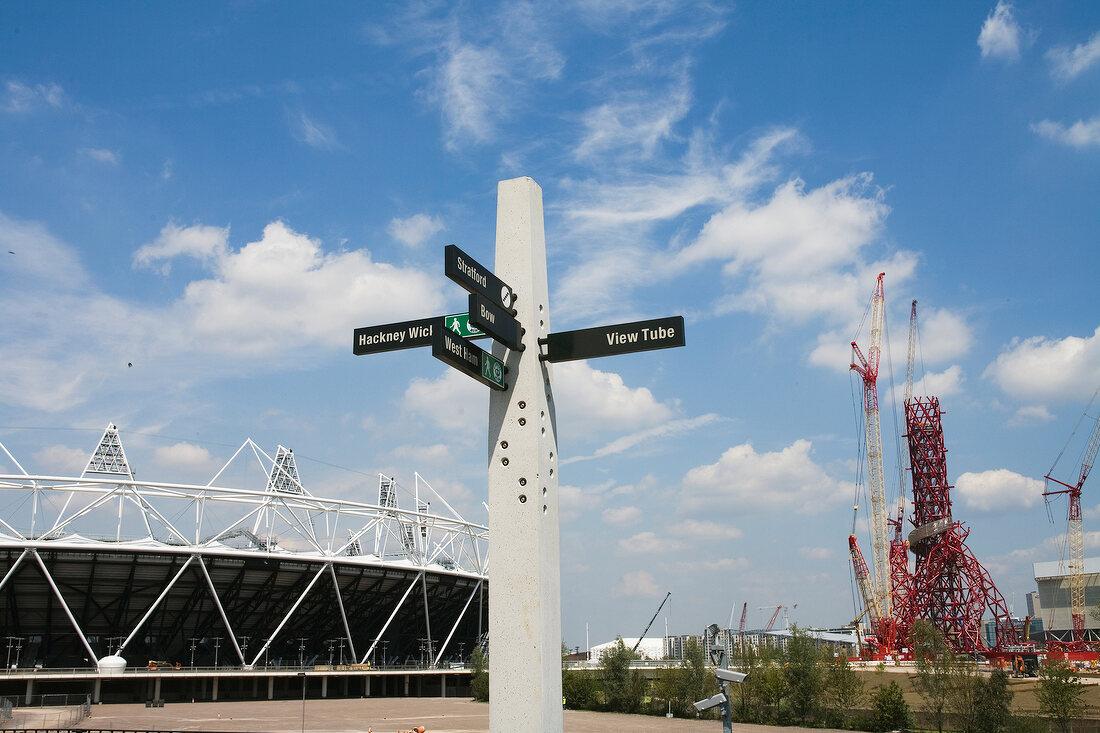 Construction of Olympic Park, The Orbit, Stratford, London, UK