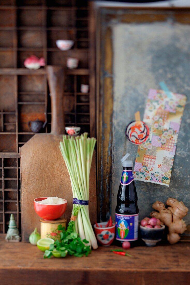 Vietnamese ingredients (lemon grass, chillis, soy sauce, ginger)