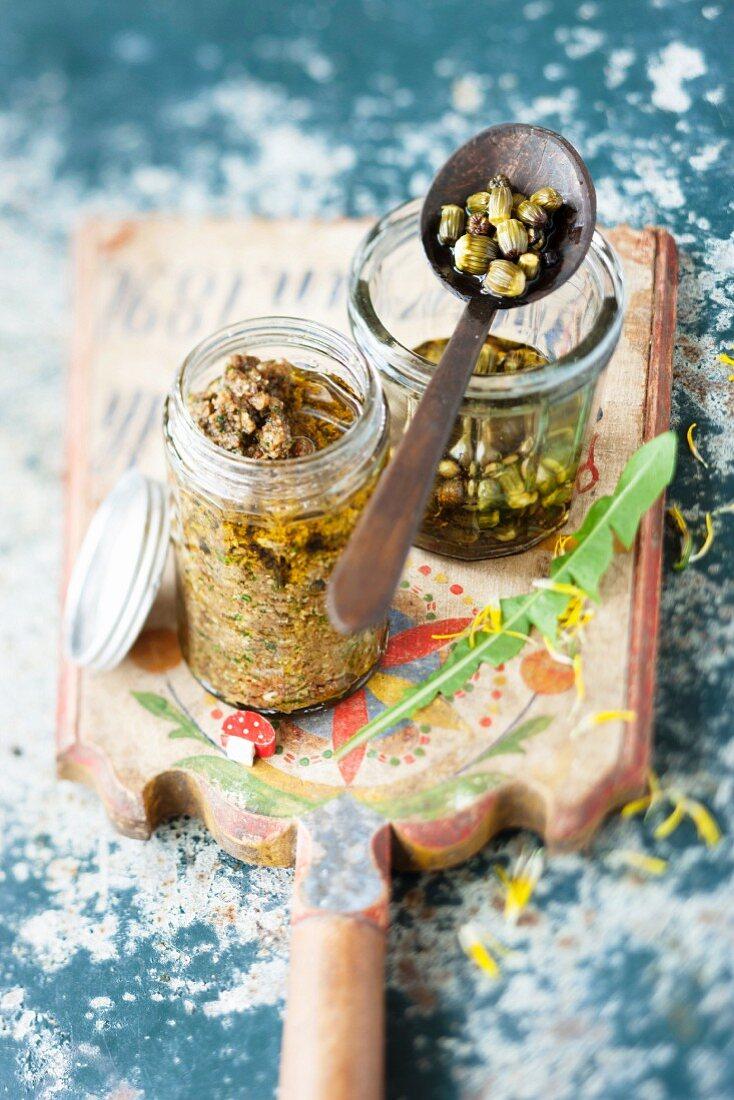 Porcini mushroom paste and dandelion bud capers (Austria)