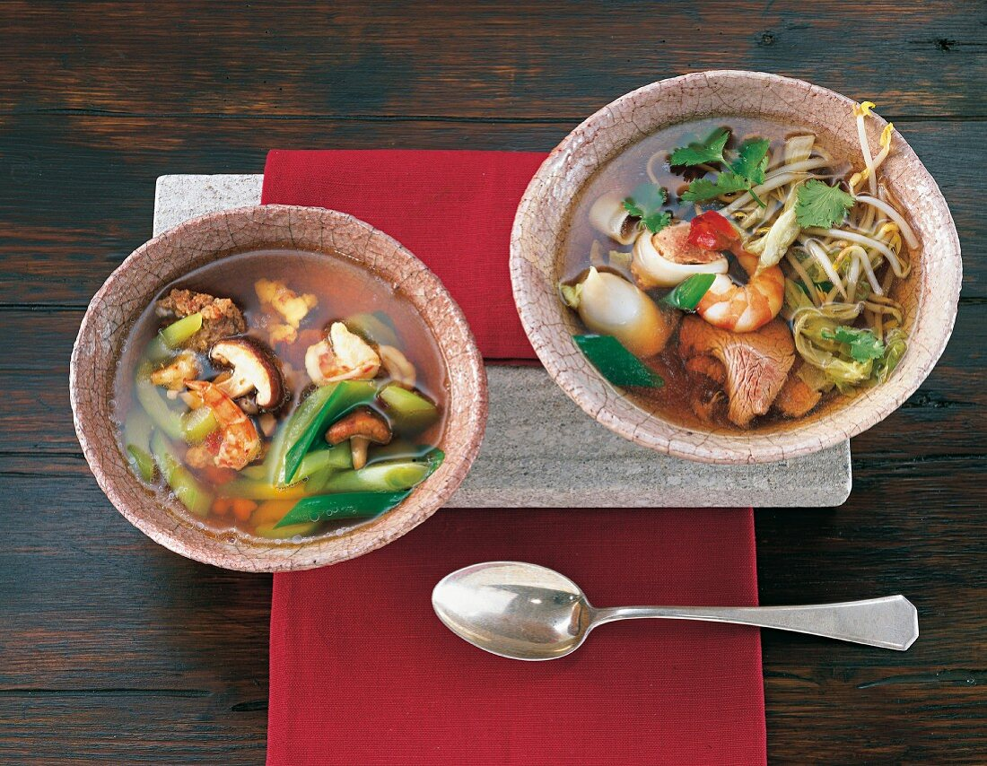Rice noodle soup, and Thai minced meat soup