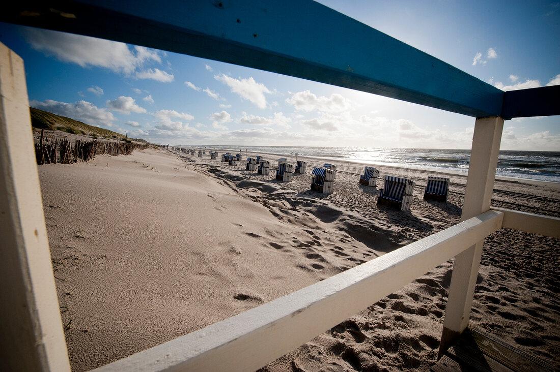 Beach chairs on beach in Sylt, Germany