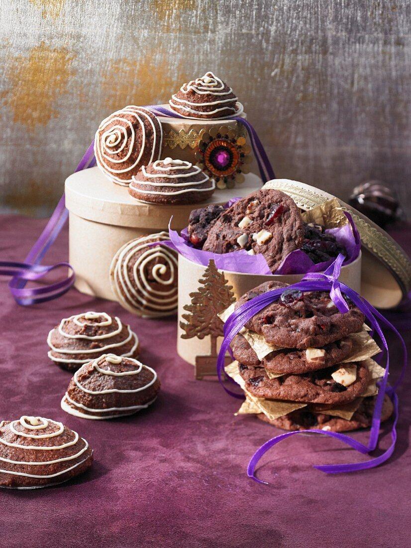 Chocolate and marzipan macaroons and triple chocolate cookies