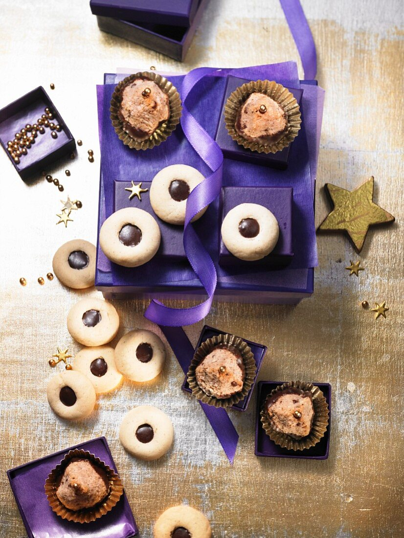 Chocolate and coconut biscuits and chocolate balls