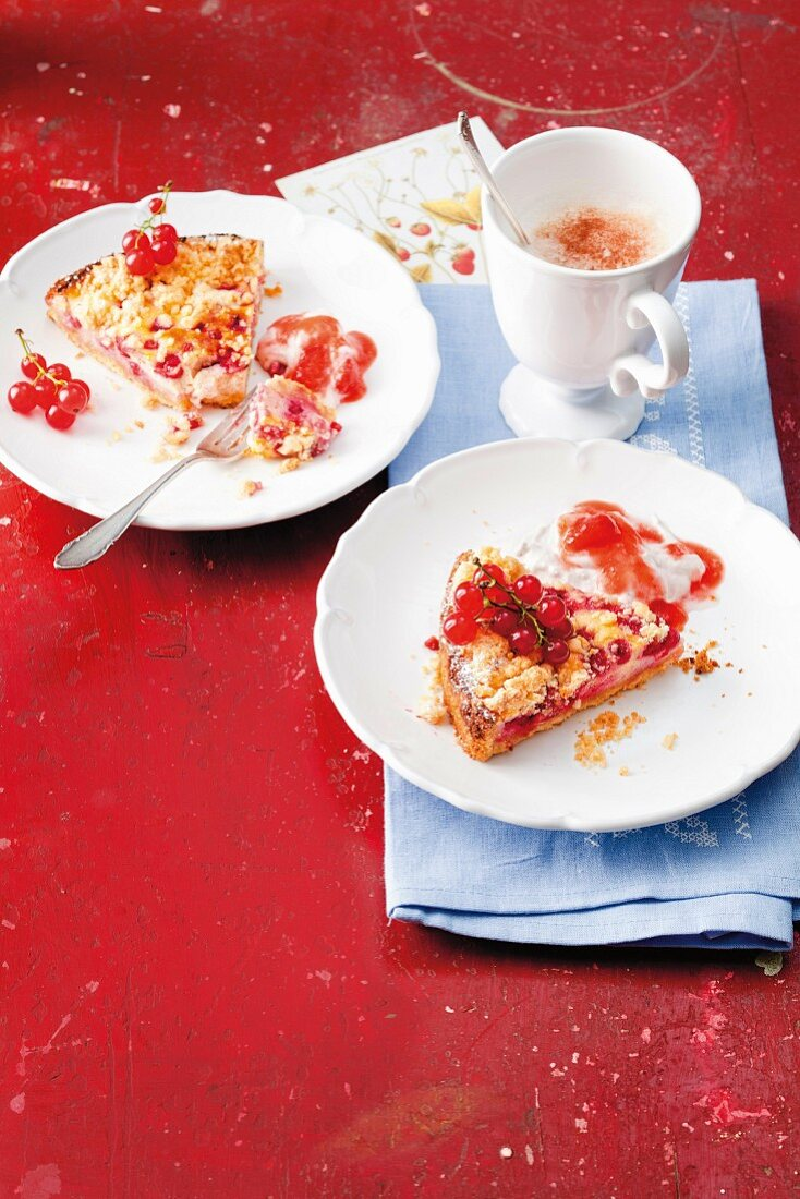 Almond crumble cake with redcurrants