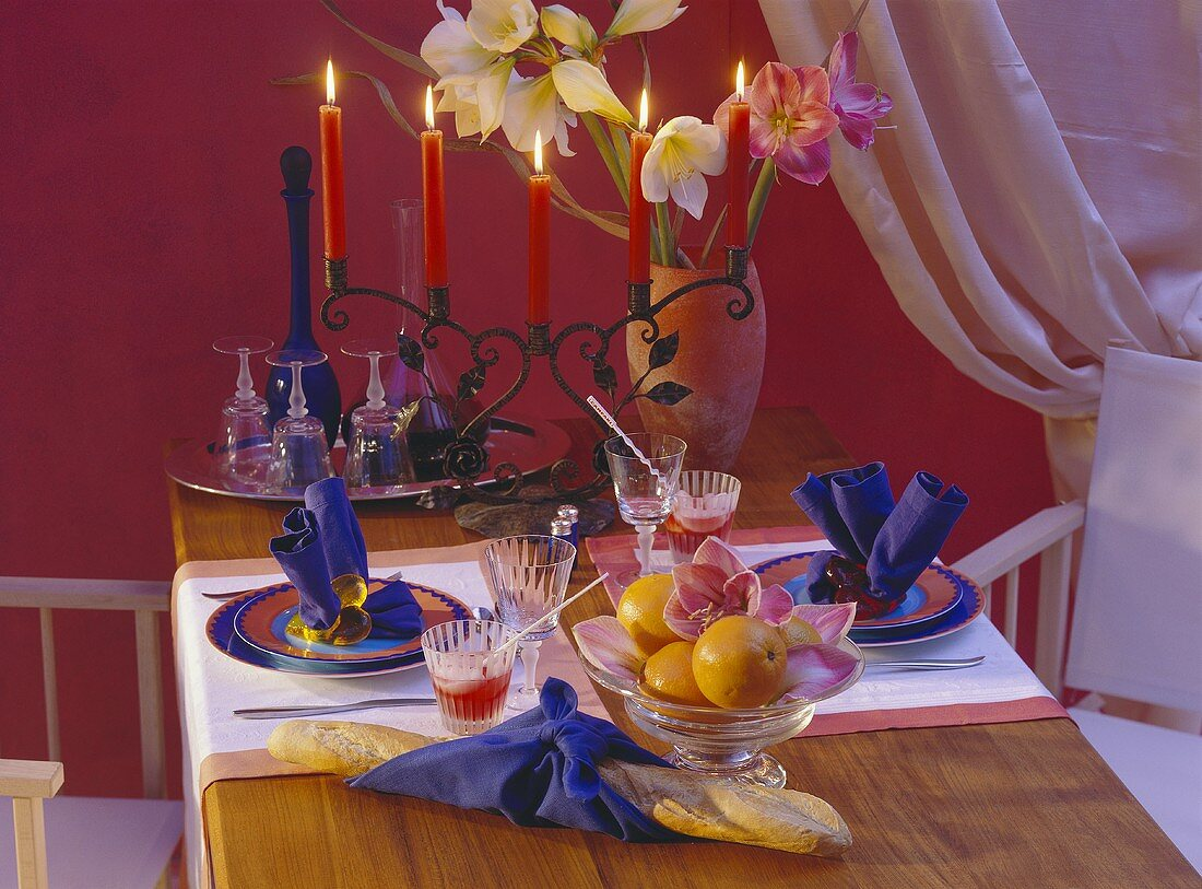 Colorful Table Setting for Two with Candles