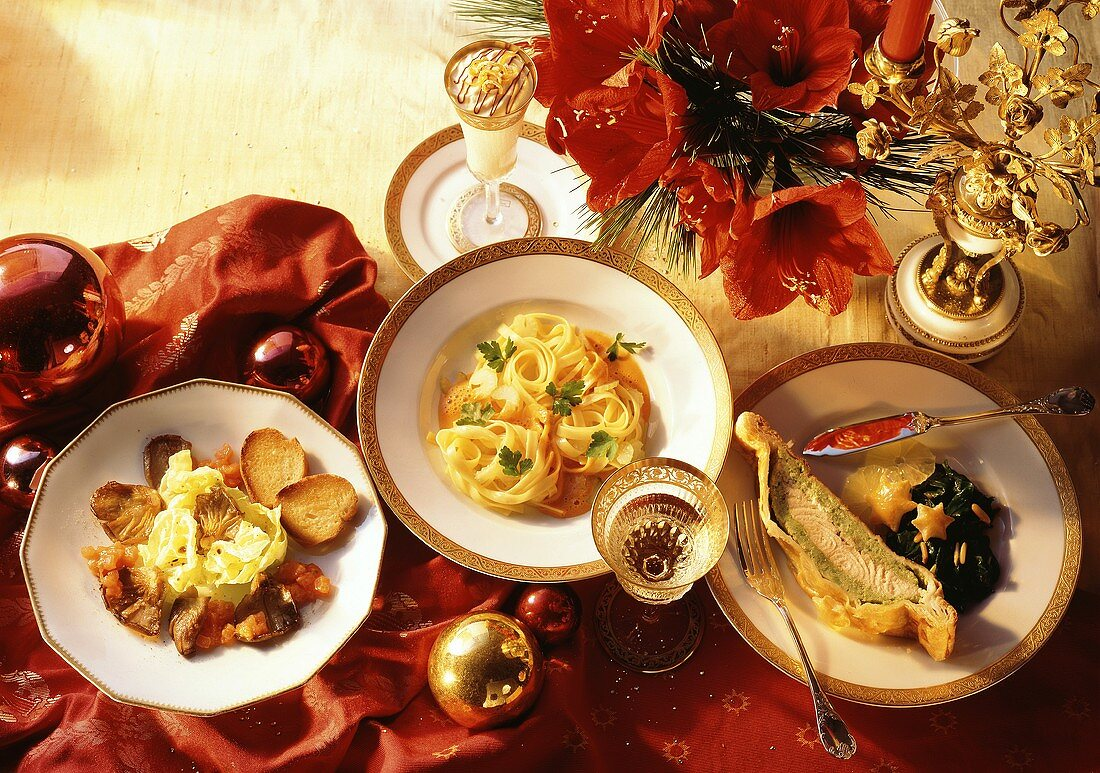 Oyster mushrooms; Noodles; Salmon & orange mousse