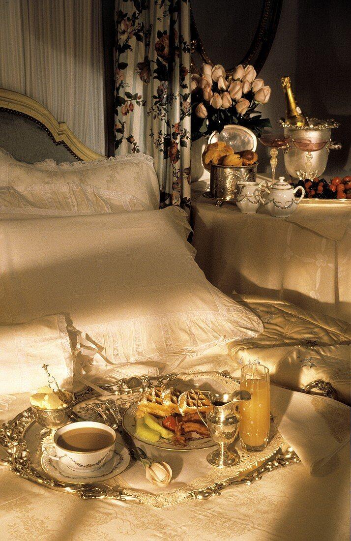 Romantic Breakfast Scene in Bedroom
