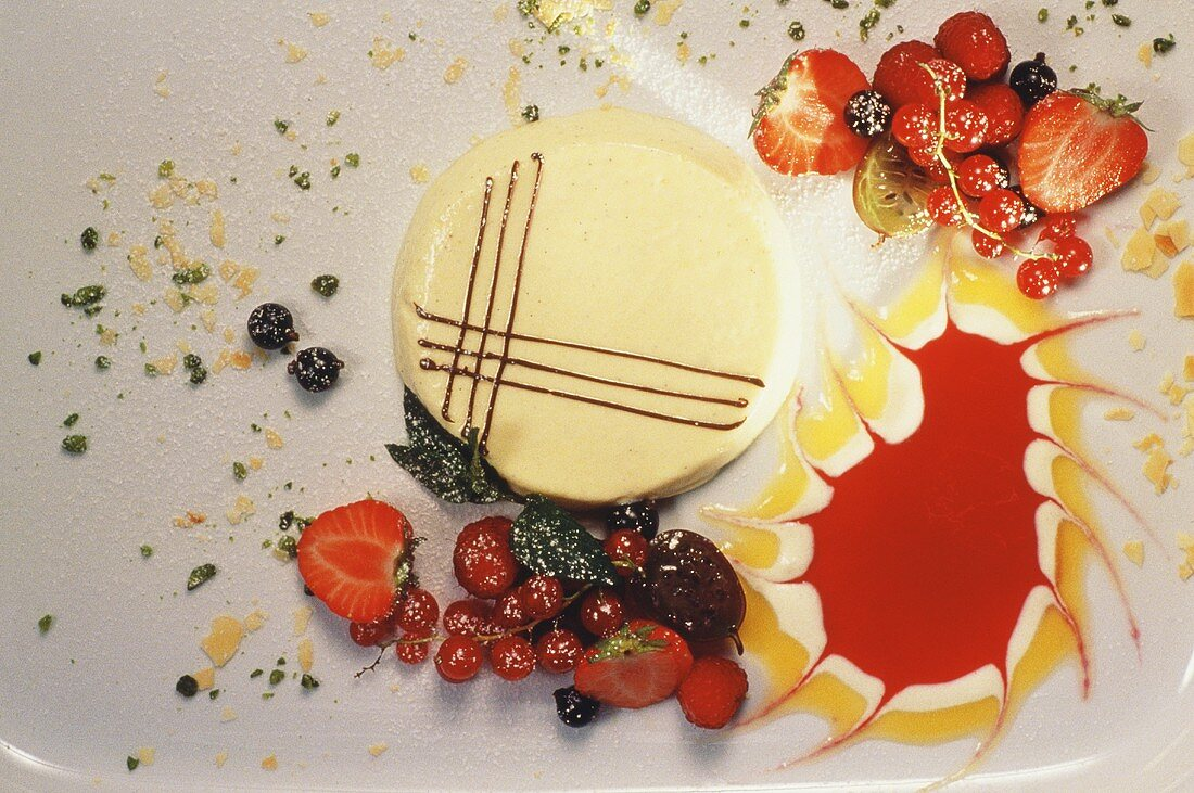 Bavarian Mousse with Sauces & Summer Berries