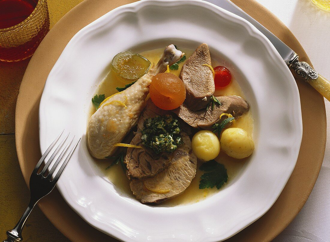 Bollito misto con salsa verde (boiled meat with green sauce)