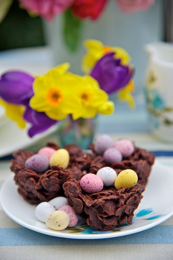 Chocolate nests filled with sugar eggs for Easter