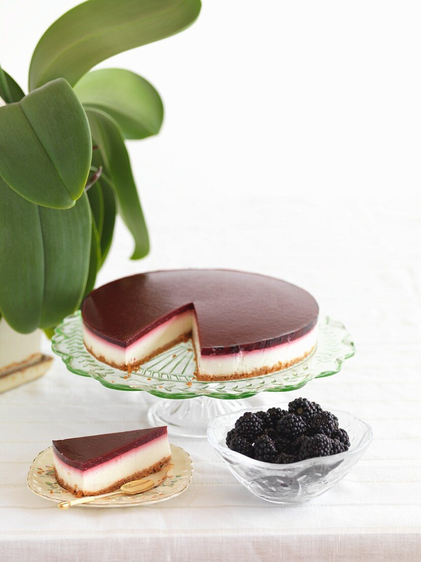 Cheese cake with boysenberries