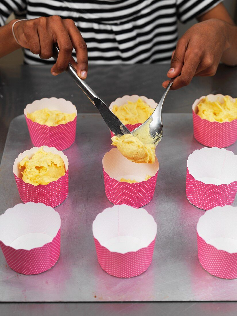 Cupcakes being made