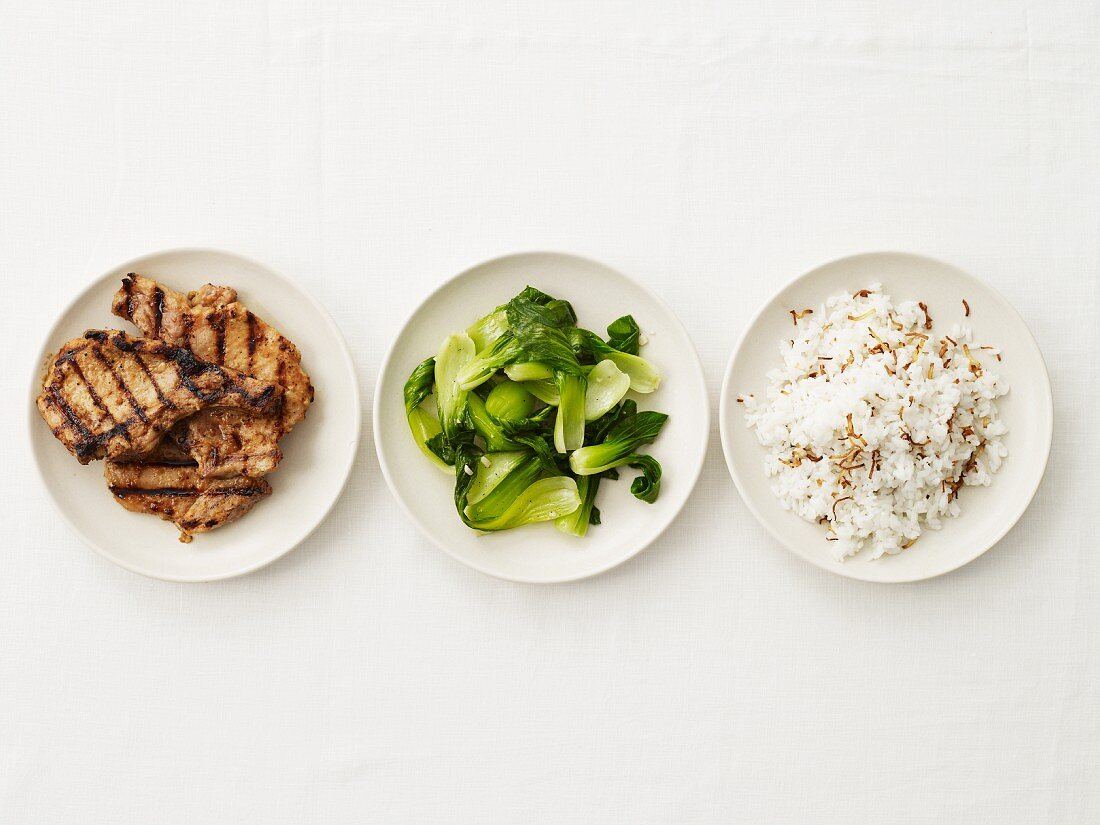 Entree Parts in Three Dishes; Pork, Bok Choy and Rice; From Above