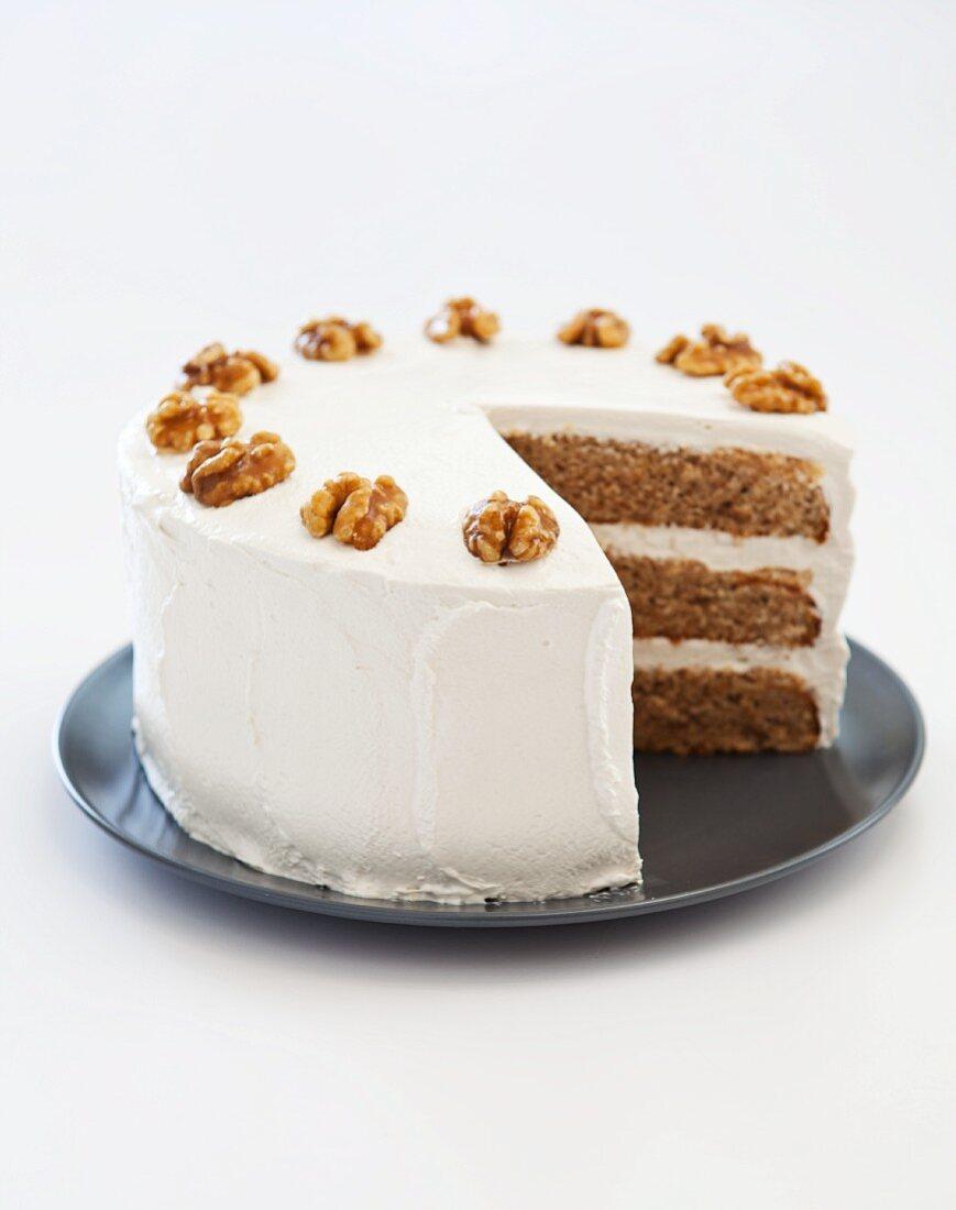 Maple Walnut Triple Layer Cake; Slice Removed