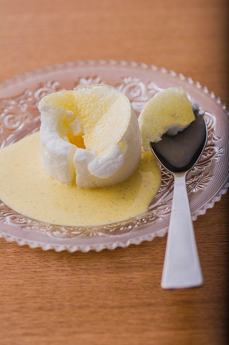 Blancmange with vanilla sauce