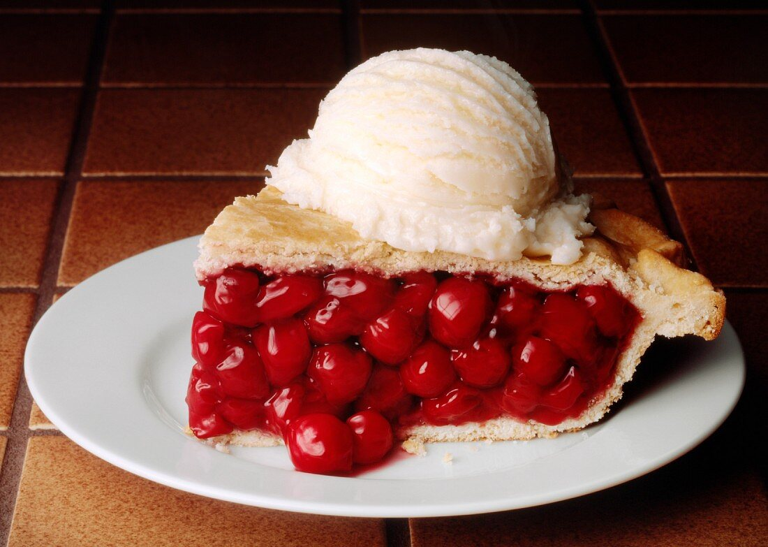 Slice of Cherry Pie with a Scoop of Vanilla Ice Cream