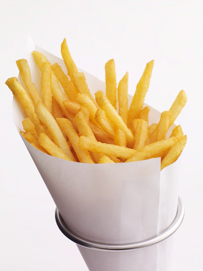 Paper Cone of French Fries in a Metal Holder
