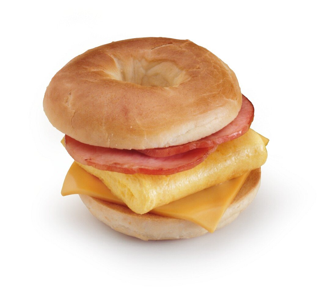 Ham, Egg and Cheese Breakfast Sandwich on a Bagel