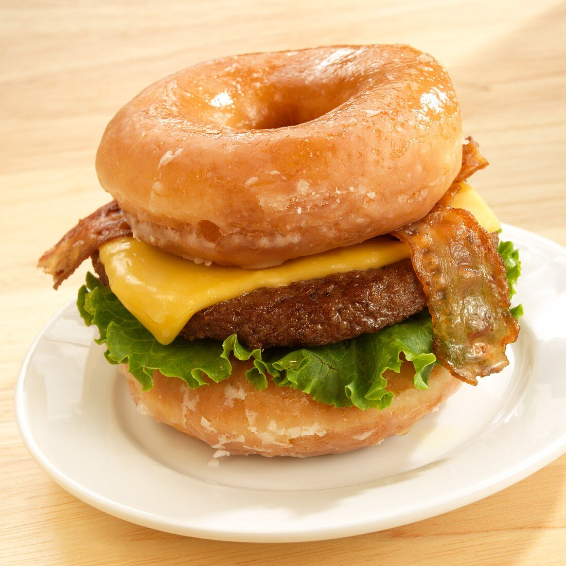 Bacon Cheeseburger Served on Two Krispie Kreme Donuts