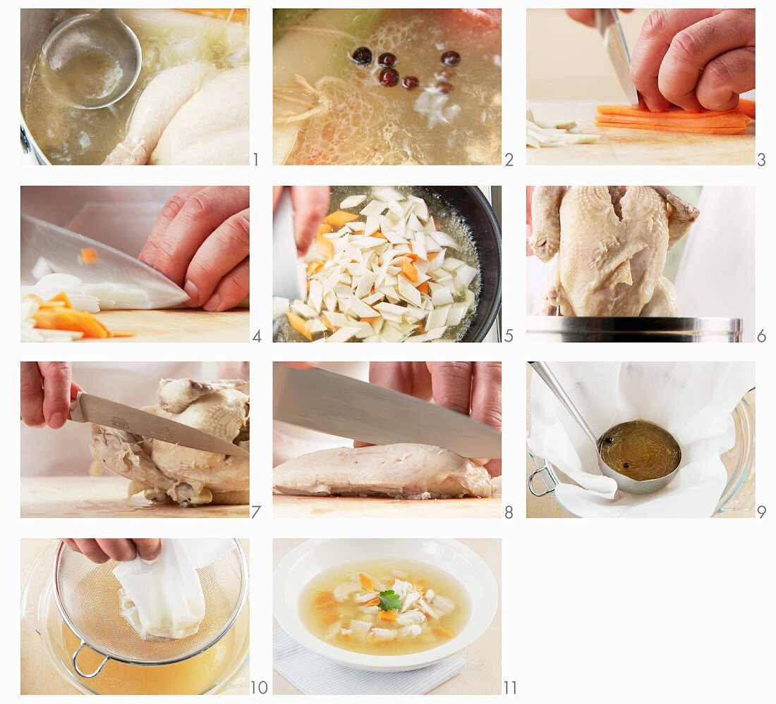 Chicken soup being prepared (English Voice-Over)