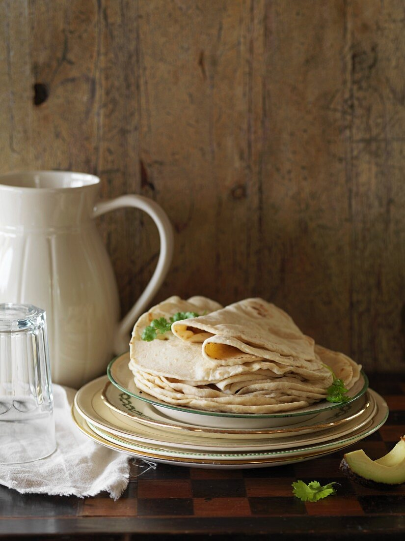 Tortillas on a plate in a rustic atmosphere