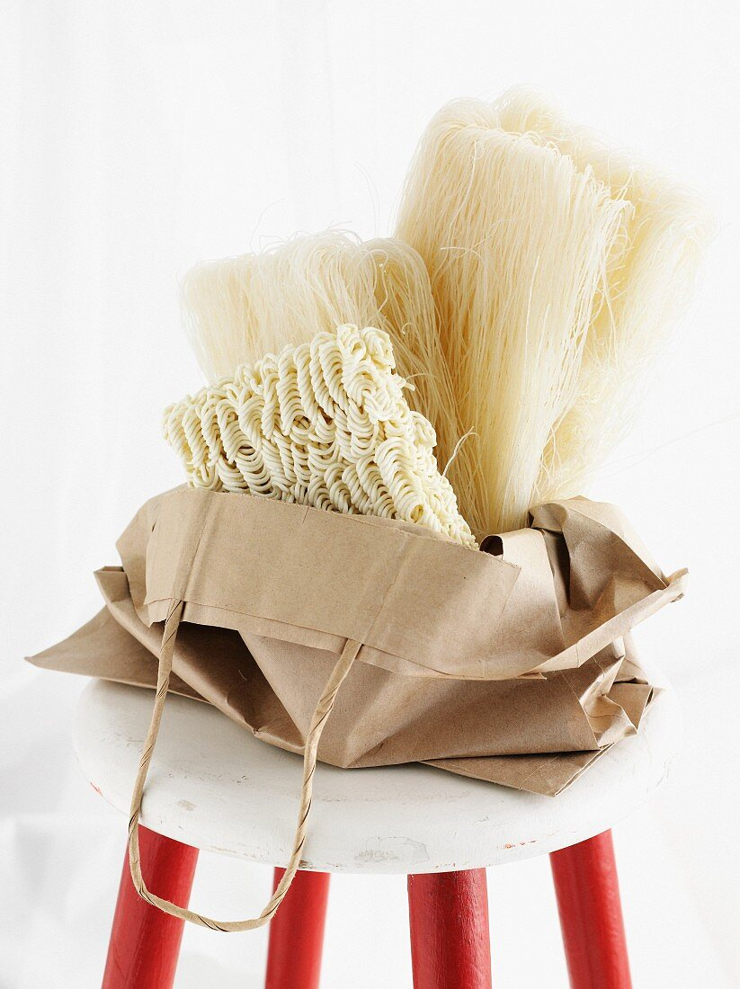 Dried noodles in paper bag