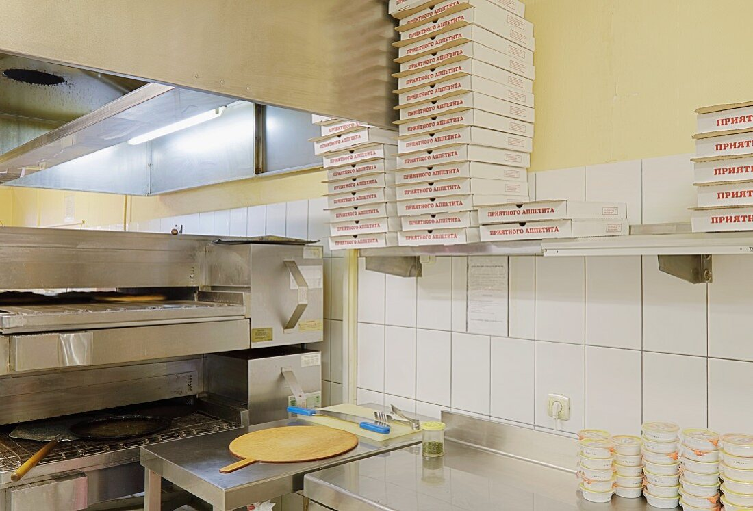 Cafe Kitchen With Pizza Making Equipment