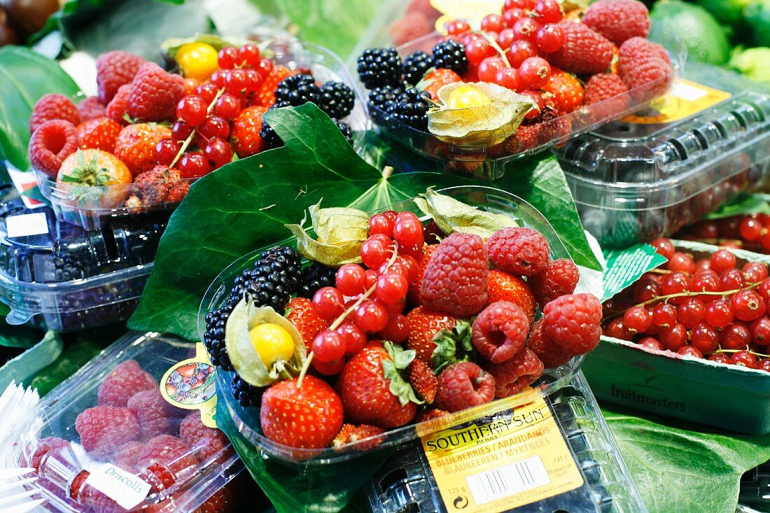 Containers of Berries for Lunch Take Out at the La Boqueria Market in Barcelona, Spain